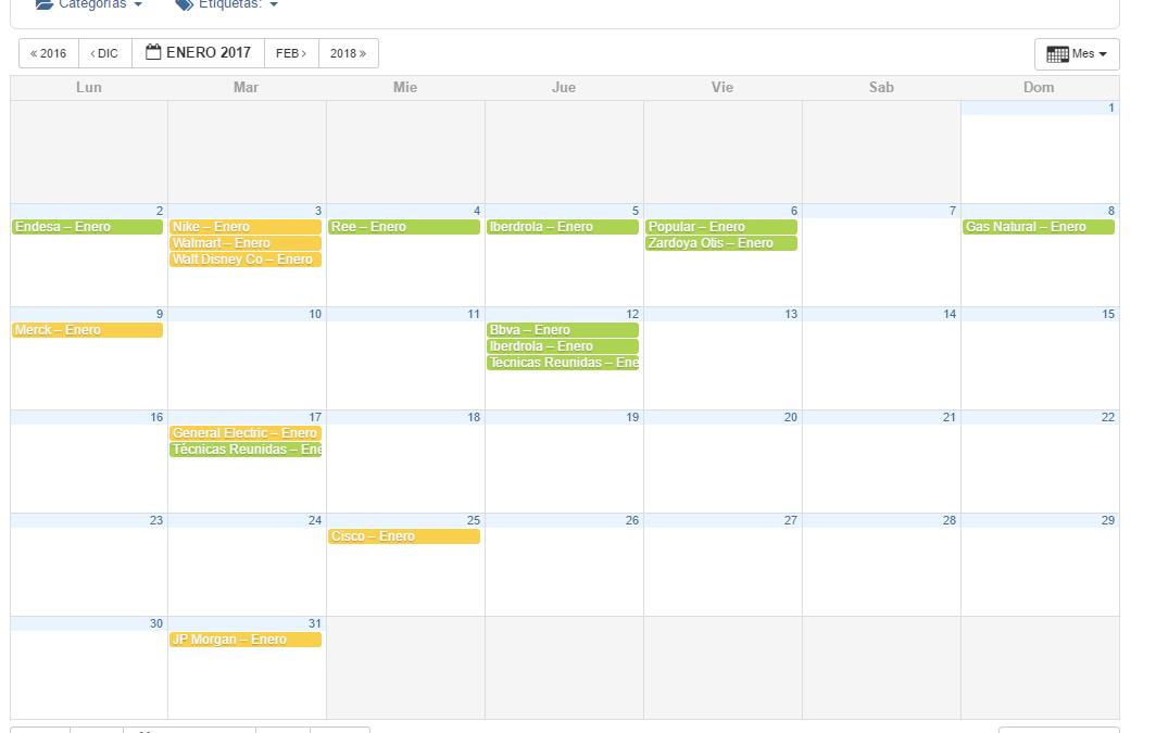 Nuevo calendario dividendos